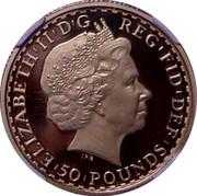 UK 50 Pounds Britannia 2009 Proof KM# 1129 ELIZABETH'II'D'G REG'FID'DEF '50'POUNDS' IRB coin obverse