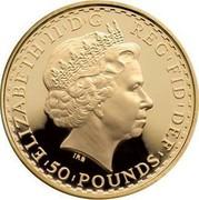 UK 50 Pounds Britannia 2010 Proof KM# 1137 ELIZABETH'II'D'G REG'FID'DEF '50'POUNDS' IRB coin obverse
