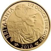 UK 50 Pounds Britannia 2010 Proof KM# 1137 BRITANNIA 1/2 OUNCE FINE GOLD 2010 coin reverse