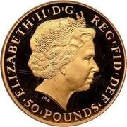 UK 50 Pounds Britannia 2011 Proof KM# 1233 ELIZABETH'II'D'G REG'FID'DEF '50'POUNDS' IRB coin obverse