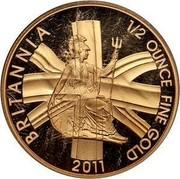 UK 50 Pounds Britannia 2011 Proof KM# 1233 BRITANNIA 1/2 OUNCE FINE GOLD 2011 coin reverse