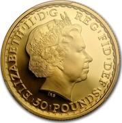 UK 50 Pounds Britannia 2013 British Royal Mint Proof KM# 1272 ELIZABETH II D G REG FID DEF 50 POUNDS coin obverse