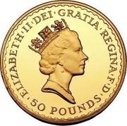 UK 50 Pounds Britannia - Elizabeth II (3rd portrait) 1987 KM# 952 ELIZABETH II DEI GRATIA REGINA F D 50 POUNDS RDM coin obverse