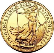 UK 50 Pounds Britannia - Elizabeth II (3rd portrait) 1987 KM# 952 1/2 OUNCE FINE GOLD BRITANNIA 1987 P.NATHAN coin reverse