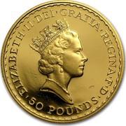 UK 50 Pounds Britannia - Elizabeth II (3rd portrait) 1996 Proof KM# 952a ELIZABETH'II'D'G REG'FID'DEF '50'POUNDS' RDM coin obverse