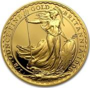 UK 50 Pounds Britannia - Elizabeth II (3rd portrait) 1996 Proof KM# 952a '1/2'OUNCE'FINE' 'GOLD' 'BRITANNIA'1992' P.NATHAN coin reverse