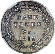 UK 9 Pence 9 Pence - George III (Bank Token; Pattern) 1812  Proof Pattern BANK TOKEN 9D  1812 coin reverse