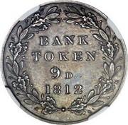 UK 9 Pence George III Bank Token - Pattern 1812 Proof Pattern KM# PnN68 BANK TOKEN 9D 1812 coin reverse