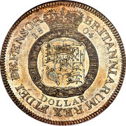 UK Dollar Pattern 1804 KM# Pn66 BRITANNIARUM REX FIDEI DEFENSOR 1804 HONI SOIT QUI MAL Y PENSE DOLLAR coin reverse