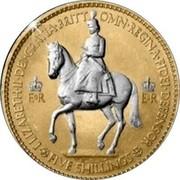 UK Five Shillings Coronation Crown 1953 EIIR EIIR ELIZABETH II DEI GRATIA BRITT OMN REGINA FIDEI DEFENSOR FIVE SHILLINGS coin obverse