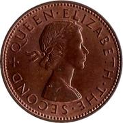 New Zealand Half Penny Elizabeth II (1st portrait) 1963 KM# 23.2 + QUEEN∙ELIZABETH∙THE∙SECOND coin obverse
