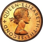 New Zealand Half Penny (Elizabeth II (1st portrait)) KM# 23.1 + QUEEN∙ELIZABETH∙THE∙SECOND coin obverse
