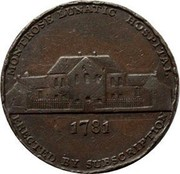 UK Halfpenny Angusshire - Montrose / Lunatic Hospital 1799  MONTROSE LUNATIC HOSPITAL ERECTED BY SUBSCRIPTION 1781 coin reverse