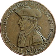 UK Halfpenny (Hampshire - Emsworth / Earl Howe) EARL HOWE & THE FIRST OF JUNE 1794 1795 HALFPENNY coin obverse