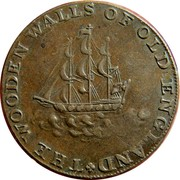 UK Halfpenny (Hampshire - Emsworth / Earl Howe) THE WOODEN WALLS OF OLD ENGLAND coin reverse
