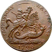 UK Halfpenny (Hampshire - Portsea / Licensed Victuallers) PROMISSORY - HALFPENNY 1796 coin obverse