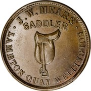 New Zealand Halfpenny Mears J.W. Wellington 1857 KM# Tn45 .J.W.MEARS. LAMBTON QUAY WELLINGTON coin obverse