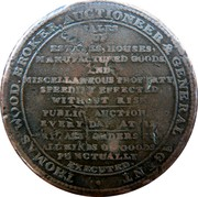 UK Halfpenny Middlesex - Thomas Wood 1811  THOMAS WOOD. BROKER, AUCTIONEER & GENERAL AGENT. SALES OF ESTATES, HOUSES, MANUFACTURED GOODS, AND MISCELLANEOUS PROPERTY, SPEEDILY EFFECTED WITHOUT RISK. PUBLIC AUCTIONS EVERY DAY AT 12. PRIVATE ORDERS FOR ALL KINDS OF GOODS PUNCTUALLY EXECUTED. coin obverse