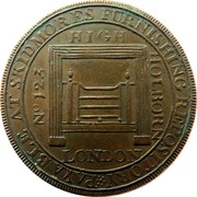 UK Halfpenny (Skidmore) NO 123 HIGH HOLBORN LONDON PAYABLE AT SKIDMORES FURNISHING REPOSITORY * coin obverse