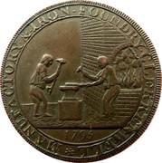 UK Halfpenny (Skidmore) MANUFACTORY ∙ & ∙ IRON - FOUNDRY ∙ CLERKENWELL * coin reverse