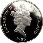New Zealand One Dollar Yellow-eyed Penguin 1988 (l) KM# 66 ELIZABETH II NEW ZEALAND 1988 RDM coin obverse