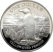 New Zealand One Dollar Yellow-eyed Penguin 1988 (l) KM# 66 ONE DOLLAR YELLOW-EYED PENGUIN coin reverse