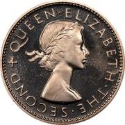 New Zealand One Florin Elizabeth II (1st portrait) 1953 Proof KM# 28.1 + QUEEN∙ELIZABETH∙THE∙SECOND coin obverse