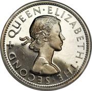 New Zealand One Florin Elizabeth II (1st portrait) 1965 Proof KM# 28.2 + QUEEN∙ELIZABETH∙THE∙SECOND coin obverse