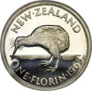 New Zealand One Florin Elizabeth II (1st portrait) 1965 Proof KM# 28.2 NEW∙ZEALAND ONE∙FLORIN∙*YEAR* KG coin reverse