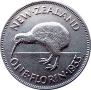 New Zealand One Florin George V 1933 KM# 4 NEW∙ZEALAND ONE∙FLORIN∙*YEAR* KG coin reverse