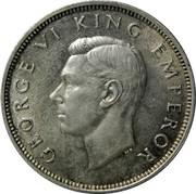 New Zealand One Florin George VI 1940 KM# 10.1 GEORGE VI KING EMPEROR HP coin obverse