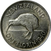 New Zealand One Florin George VI 1940 KM# 10.1 NEW∙ZEALAND ONE∙FLORIN∙*YEAR* KG coin reverse