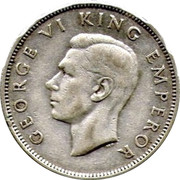 New Zealand One Florin George VI 1946 KM# 10.2 GEORGE VI KING EMPEROR HP coin obverse
