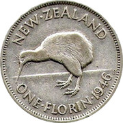 New Zealand One Florin George VI 1946 KM# 10.2 NEW∙ZEALAND ONE∙FLORIN∙1946 KG coin reverse