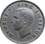 New Zealand One Florin George VI 1947 KM# 10.2a GEORGE VI KING EMPEROR HP coin obverse