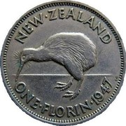 New Zealand One Florin George VI 1947 KM# 10.2a NEW∙ZEALAND ONE∙FLORIN∙1947 KG coin reverse