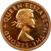 New Zealand One Penny Elizabeth II 1953 Matte proof KM# 24.1 + QUEEN∙ELIZABETH∙THE∙SECOND coin obverse