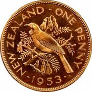 New Zealand One Penny Elizabeth II 1953 Matte proof KM# 24.1 ∙NEW ZEALAND∙ONE PENNY∙*YEAR*∙ coin reverse