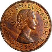 New Zealand One Penny Elizabeth II (1st portrait) 1959 KM# 24.2 + QUEEN∙ELIZABETH∙THE∙SECOND coin obverse