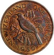 New Zealand One Penny Elizabeth II (1st portrait) 1959 KM# 24.2 ∙NEW ZEALAND∙ONE PENNY∙*YEAR*∙ coin reverse