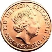 UK One Penny Lucky Silver 2015 KM# 1339 2016 ELIZABETH II DEI GRA REG FID DEF J.C coin obverse
