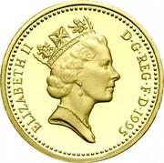 UK One Pound Dragon of Wales 1995 Proof KM# 969 ELIZABETH II D∙G∙REG∙F∙D∙1995 RDM coin obverse