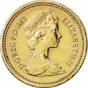 UK One Pound Royal Arms 1983 Proof KM# 933 D∙G∙REG∙F∙D∙1983 ELIZABETH∙II coin obverse