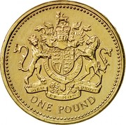 UK One Pound Royal Arms 1983 Proof KM# 933 HONI SOIT QUI MAL Y PENSE DIEU ET MON DROIT ONE POUND coin reverse