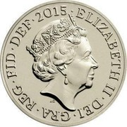 UK One Pound Royal Arms 2015 Proof KM# 1341 ELIZABETH II∙DEI∙GRA∙REG∙FID∙DEF∙2015∙ J.C coin obverse