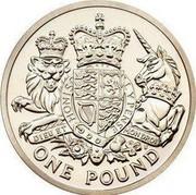 UK One Pound Royal Arms 2015 Proof KM# 1341 HONI SOIT QUI MAL Y PENSE DIEU ET MON DROIT ONE POUND coin reverse