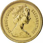 UK One Pound Scottish Thistle 1984 Proof KM# 934 D∙G∙REG∙F∙D∙1984 ELIZABETH∙II coin obverse