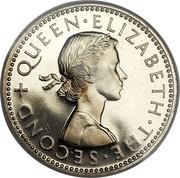 New Zealand One Shilling (Elizabeth II (1st portrait)) KM# 27.1 + QUEEN∙ELIZABETH∙THE∙SECOND coin obverse