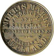 New Zealand Penny 1870 KM# Tn42 Trade Tokens coin obverse