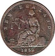 New Zealand Penny Day & Mieville / Dunedin 1857 KM# Tn16 NEW ZEALAND 1857 coin obverse